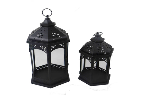 Large Hexagon Matt Black Metal Lantern With Glass Panels - Height 46cm