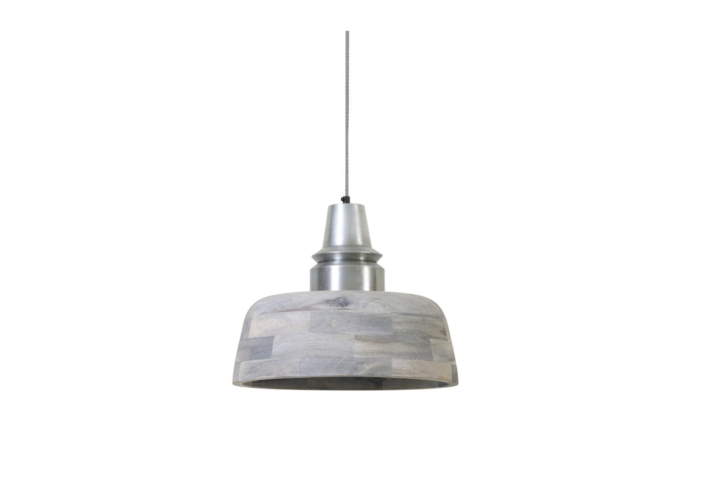 Industrial Chic Wood Pendant Light Grey With Silver Top