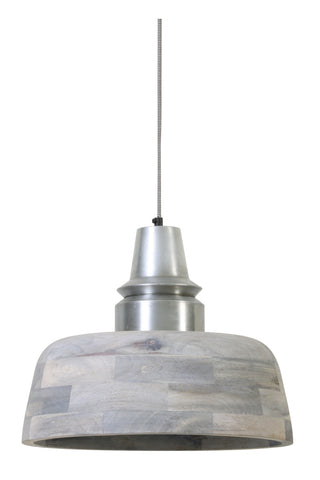 Industrial Chic Wood Pendant Light Grey With Silver Top - Diameter 40cm