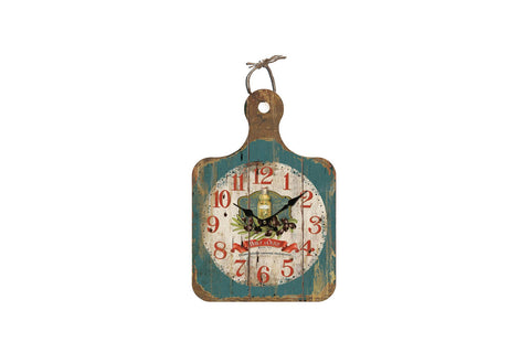 Olive Chopping Board Distressed Style Wall Clock-Height 40cm