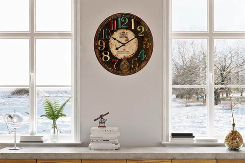 Coloured Numbers Vintage Style Wall Clock-Diameter 58.2cm