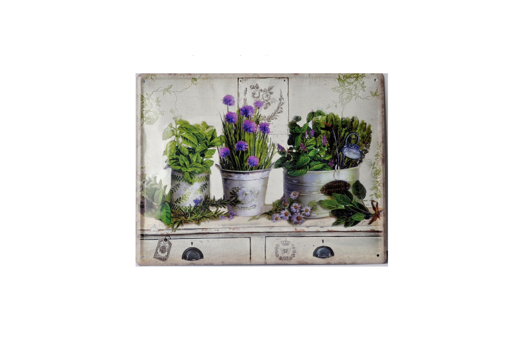 Floral Country Garden Iron Wall Hanging Plaque
