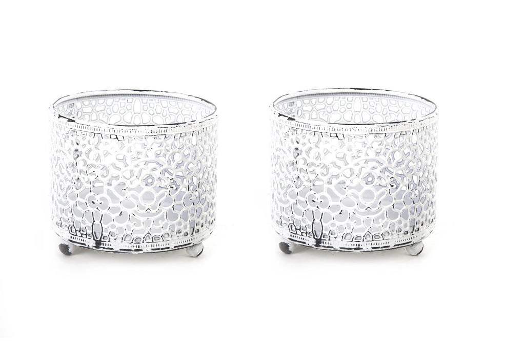 Marrakesh Antique White Moroccan Style Cutout Tealight Holder Set of 2