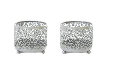 Marrakesh Grey Moroccan Style Cutout Tealight Holder Set of 2