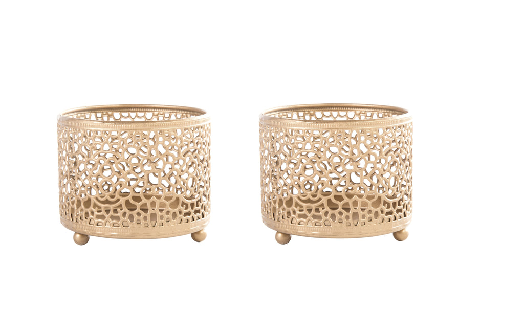 Marrakesh Brass Moroccan Style Cutout Tealight Holder Set of 2