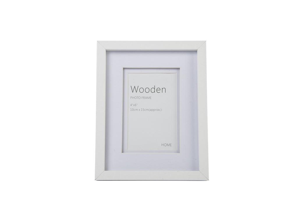 White Wooden Photo Frame 6 x 4""