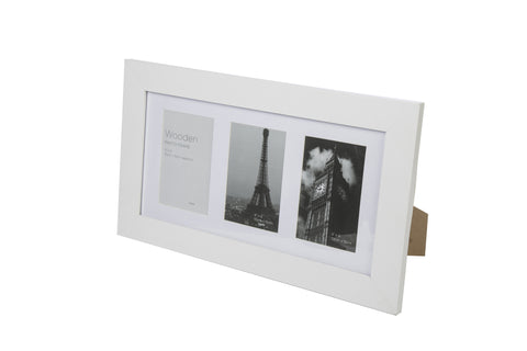 White Wooden Photo Frame  3 Aperture