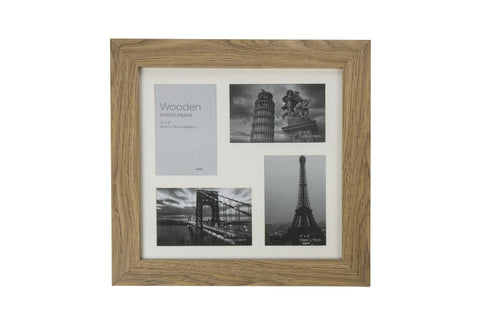 Oak Effect Natural Wooden Photo Frame 4 Aperture
