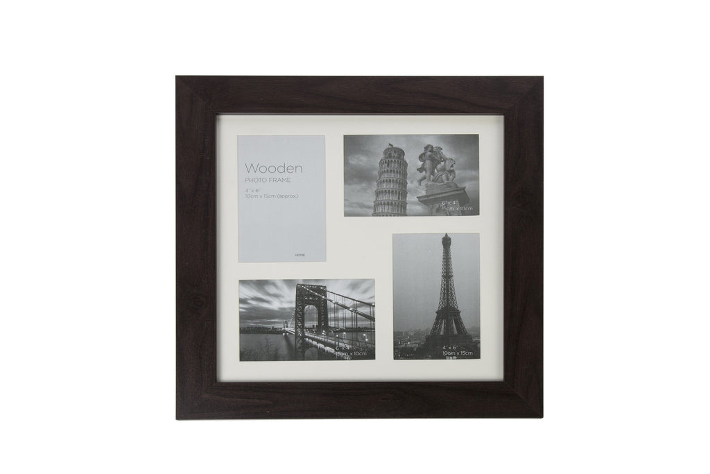 Dark Brown Wooden Photo Frame 4 Aperture