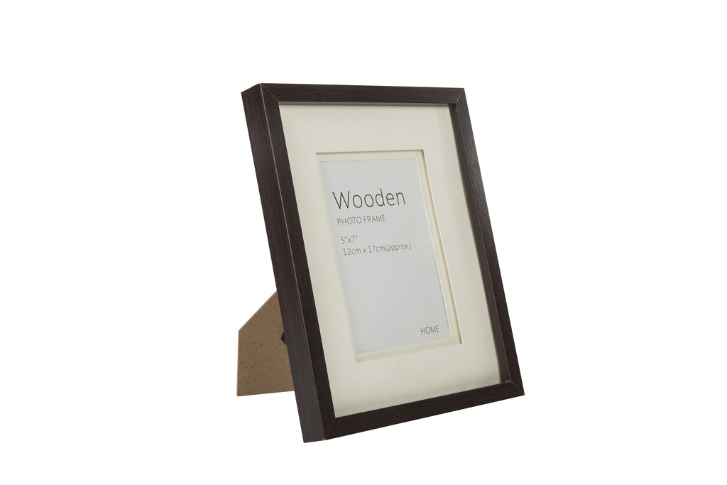 Dark Brown Wooden Photo Frame 5x7""