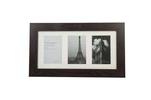 Dark Brown Wooden Photo Frame 3 Aperture