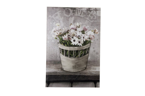 3D Canvas Art Potted White And Pink Daisy - Height 60cm x Width 40cm