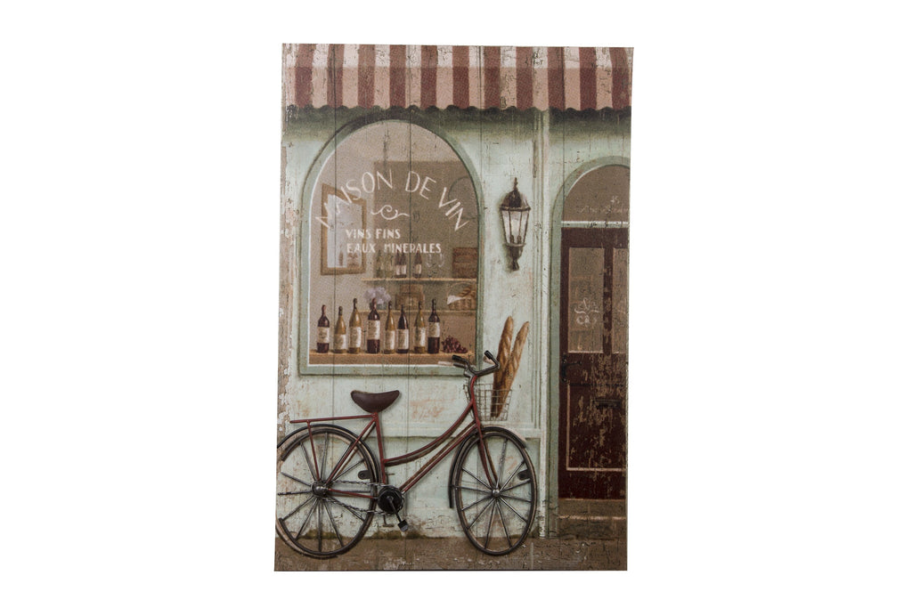 3D Canvas Art Maison De Vin With Metal Bike