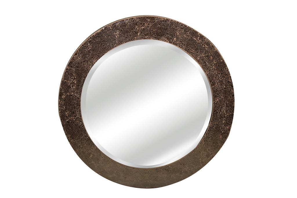 Moroccan Crackled Glass Round Mirror