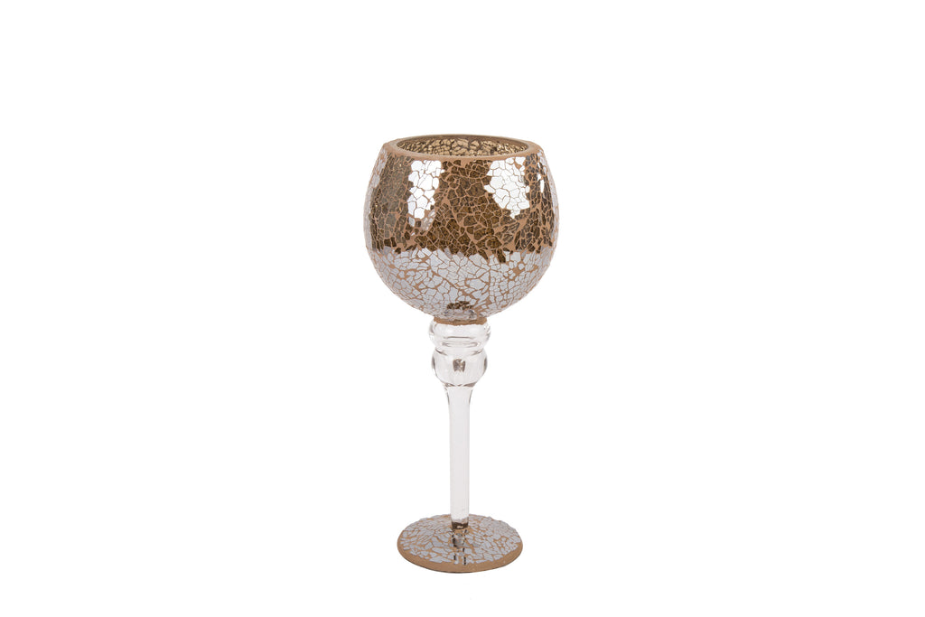 Mosaic Crackle Glass Goblet Candle Holder Mink