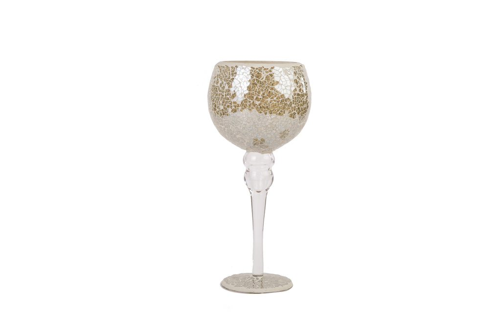 Mosaic Crackle Glass Goblet Ornament Champange Gold