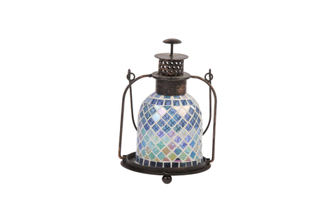 Parisian Styke Blue Mosaic Glass Lantern Height Approx 28cm