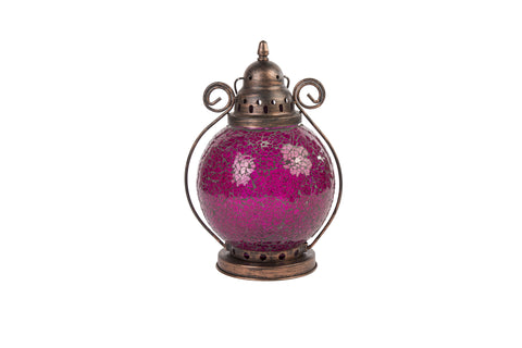 Parisian Style Crackled Glass Lantern Plum