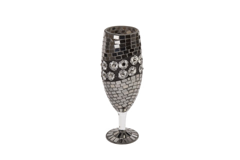 Mosaic Wine Glass Shape Vase With Flower Décor Height 35cm