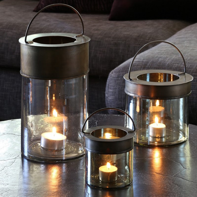 Cambas Tall Tealight Holder Smoked Glass