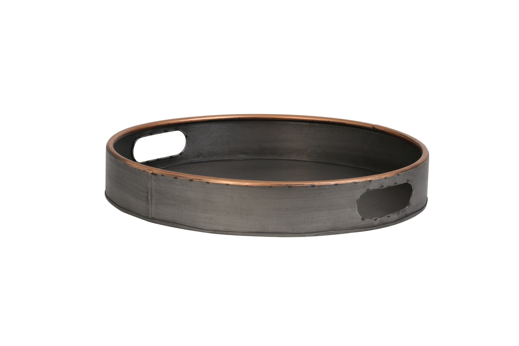 Floro Metal Tray With Copper Rim