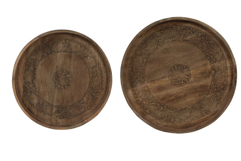 Gephan Wood Tray Set of 2 - Diameter 45cm + 53cm