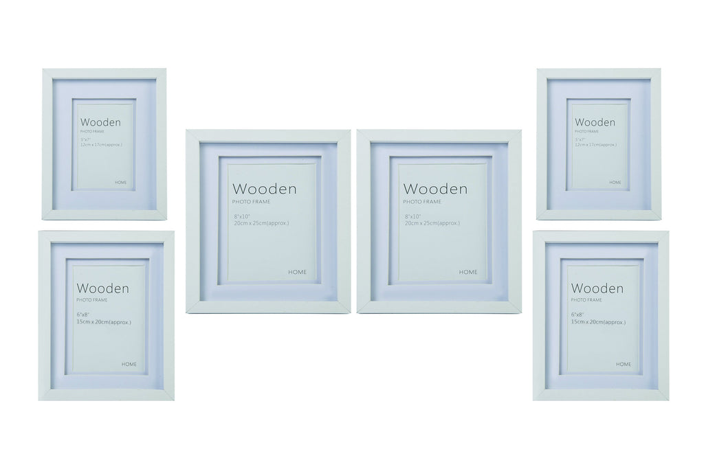 White Wooden Photo Frame Set of 6