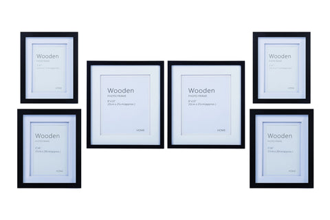 Black Wooden Photo Frame Set of 6