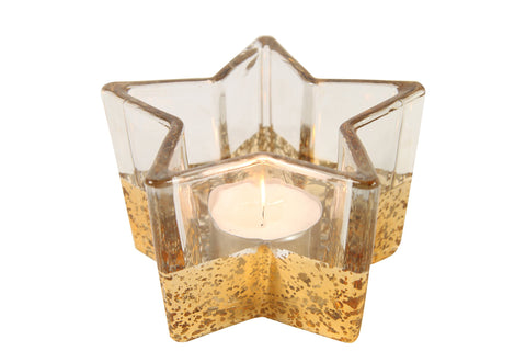 Star Glass Tealight Holder Clear And Gold - Width 11cm