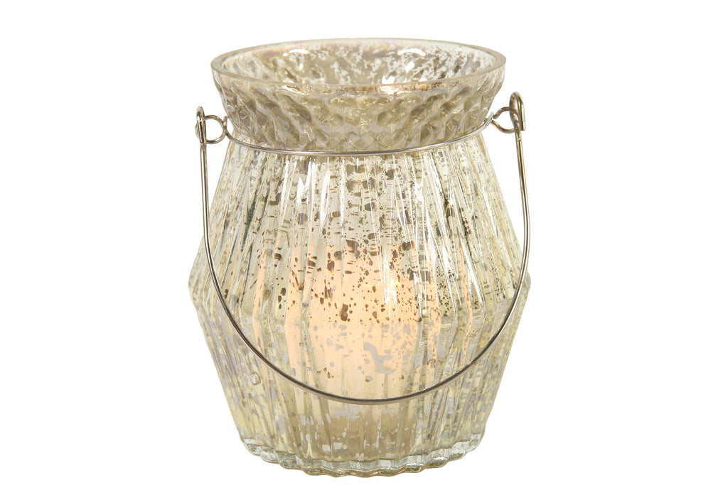 Glass Tealight Holder Textured And Distressed With Metal Handle