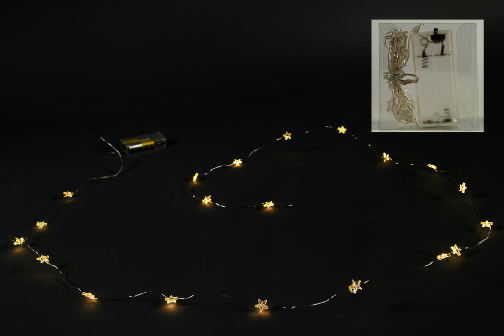 20 LED Battery Operated Clear Star Garland - Length 160cm
