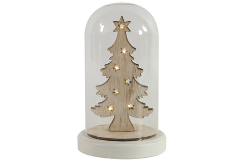 Wooden Christmas Tree With LED Lights In Glass Dome - Height 20cm