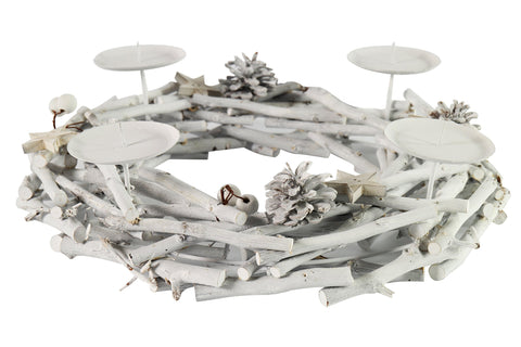 Alette Candle Holder Of Branches White - Diameter 38cm