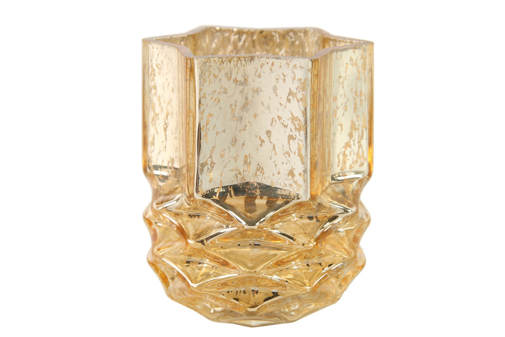 Corinna Glass Tealight Holder Champagne - Height 11cm