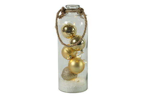 Selena Gold Baubles With LED Lights In Bottle - Height 31cm