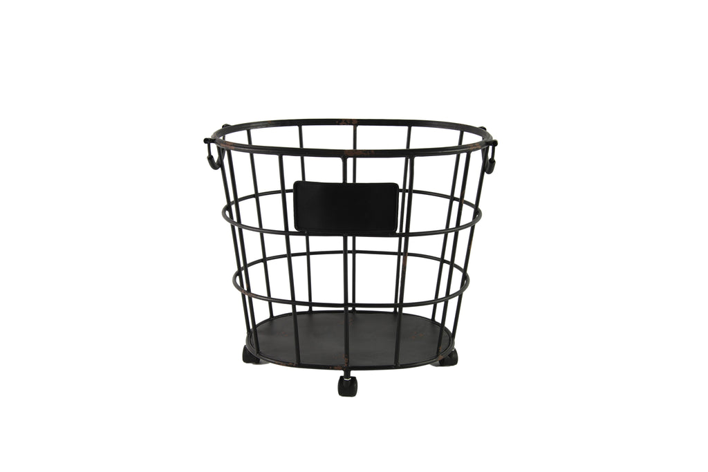 Adelina Metal Wire Basket On Wheels Distressed Black