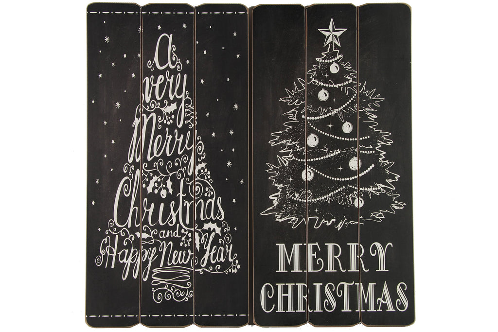 Christmas Rectangular Wooden Plaque Set of 2 - Height 60cm x Width 30cm