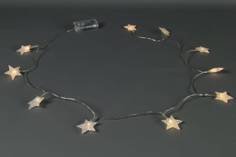 10 LED Battery Operated Clear Star Garland - Length 180cm