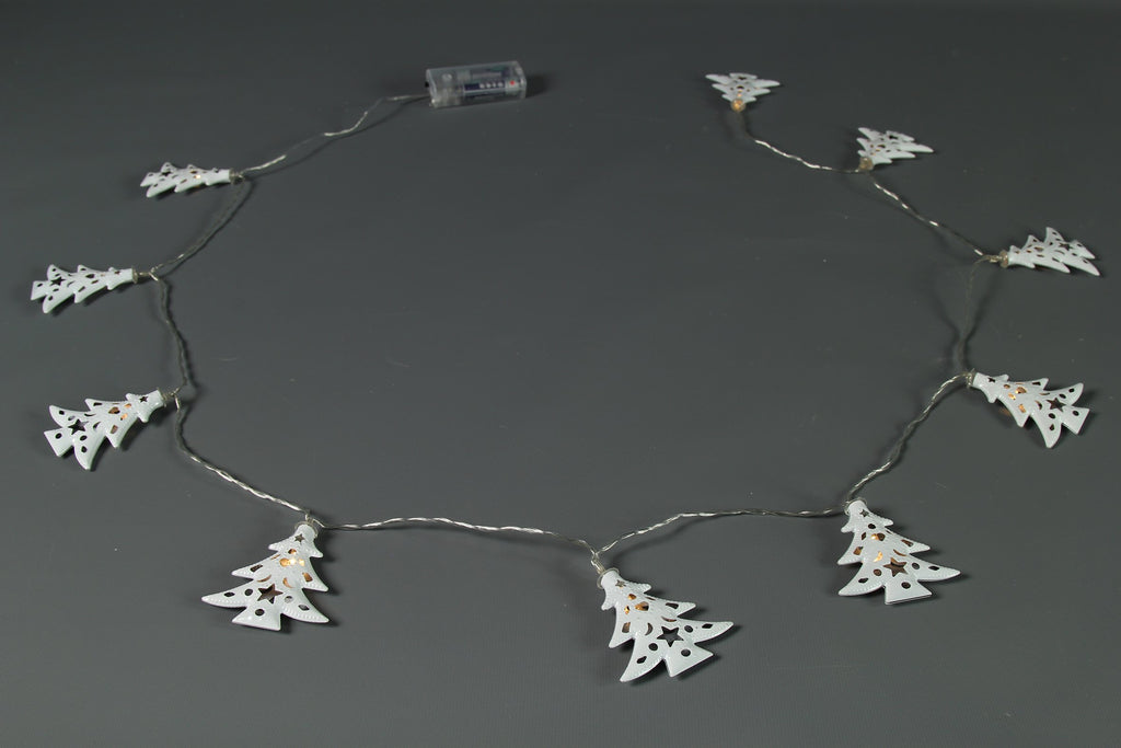 10 LED Battery Operated White Christmas Tree Garland - Length 180cm