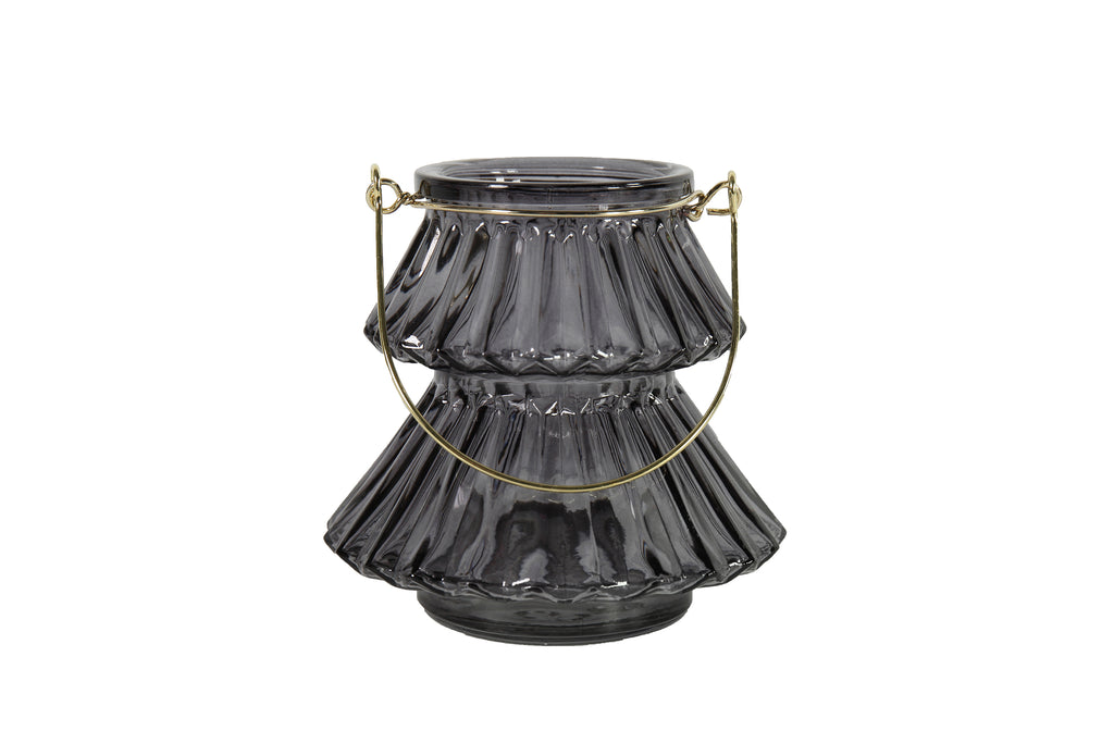 Arien Dark Grey Glass Tealight Holder With Gold Metal Handle - Height 10cm x Width 11cm