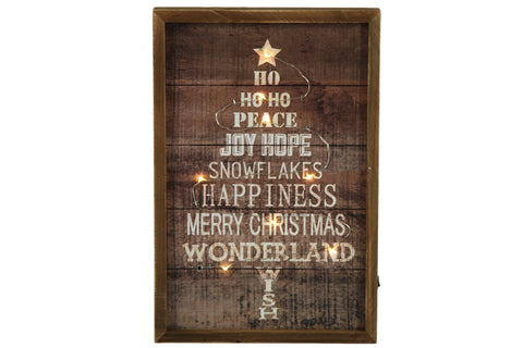 Merry Christmas Wooden Wall Art With LED Lights - Height 30cm x Width 20cm