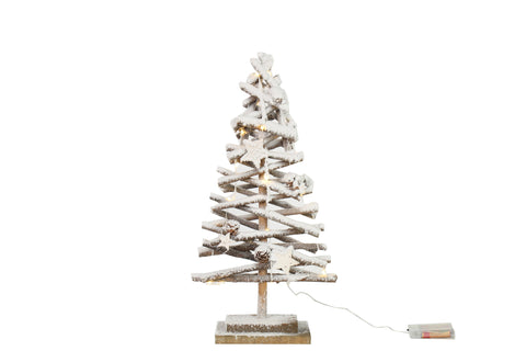 Christmas Tree Natural And White With LED Lights - Height 50cm x Width 26cm