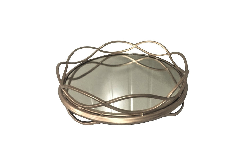 Art Deco Round Mirror Serving Tray With Wave Design
