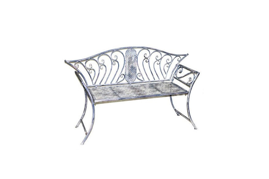 Grey Vintage 2 Seater Metal Bench