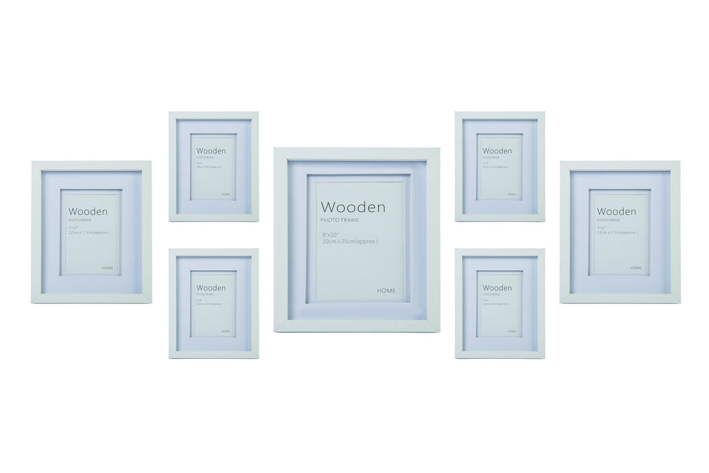 White Wooden Photo Frame Set of 7