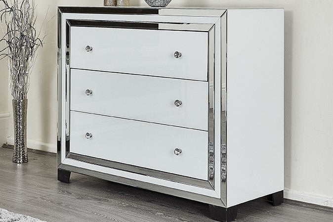Amelia White Mirrored Chest of Drawers