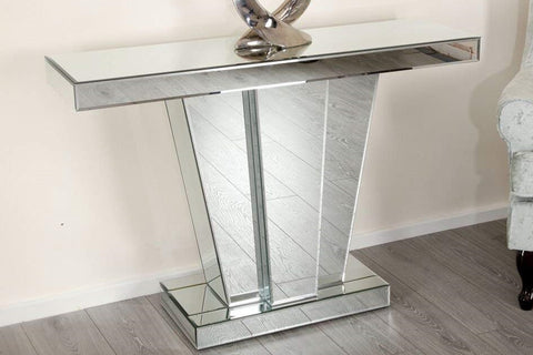 Venetian V-shaped Mirrored Console Table