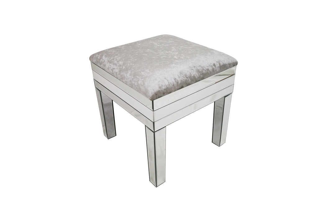 Amelia Mirrored Crushed Velvet Dressing Stool