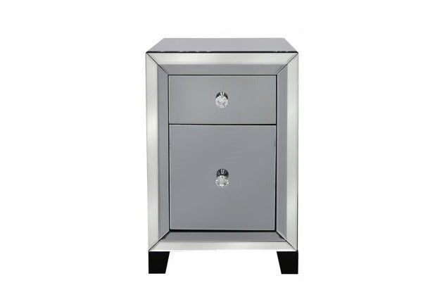 Vegas Mirrored Two Drawer Bedside Table