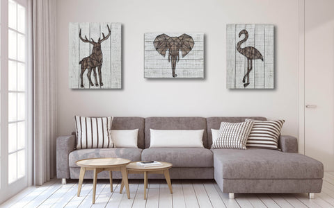3D Metal Stag Wooden Wall Art Décor-65cm x 50cm